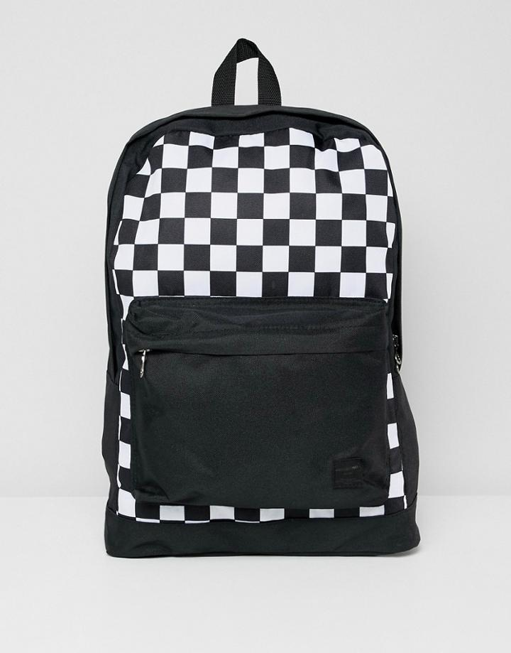 Jack & Jones Backpack With Checkerboard Print - Black