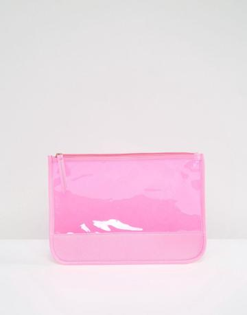 South Beach Transparent Neon Pink Clutch Bag - Pink