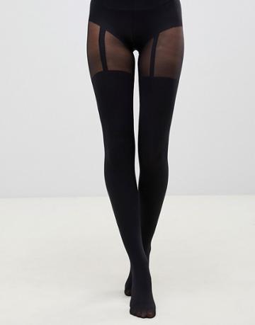 Pretty Polly Suspender Tights In Black - Black