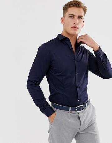Jack & Jones Premium Slim Fit Stretch Smart Shirt In Navy - Navy