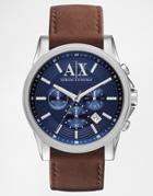 Armani Exchange Leather Strap Watch Ax2501 - Brown