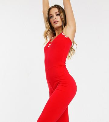 Puma Logo Capri Unitard In Red Exclusive To Asos