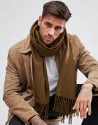 Asos Blanket Scarf In Khaki - Gray