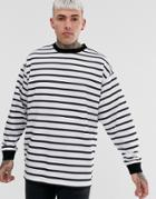 Asos Design Oversized Longline Sweatshirt In Black & White Stripes - White