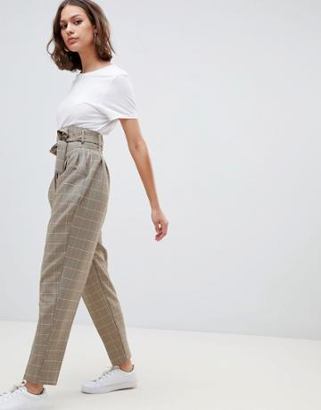 Asos Design Balloon Tapered Pants In Heritage Check - Multi