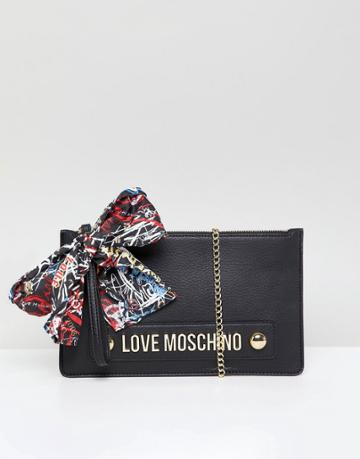 Love Moschino Stud Logo Clutch With Chain Strap - Black