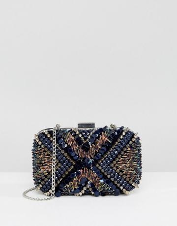 New Look Embellished Spikey Stud Box Bag - Blue