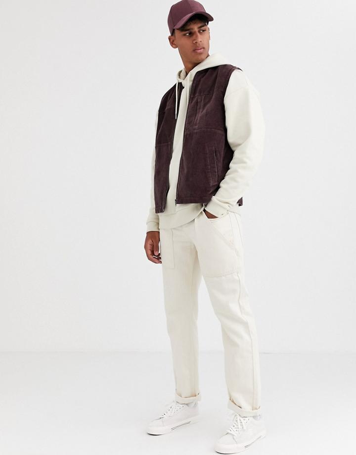 Asos Design Cord Vest In Plum-purple