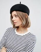 7x Structured Beret In 100% Wool - Black