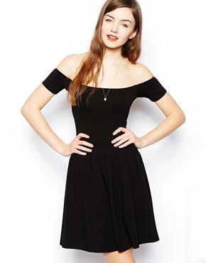 Asos Mini Bardot Skater Dress - Black