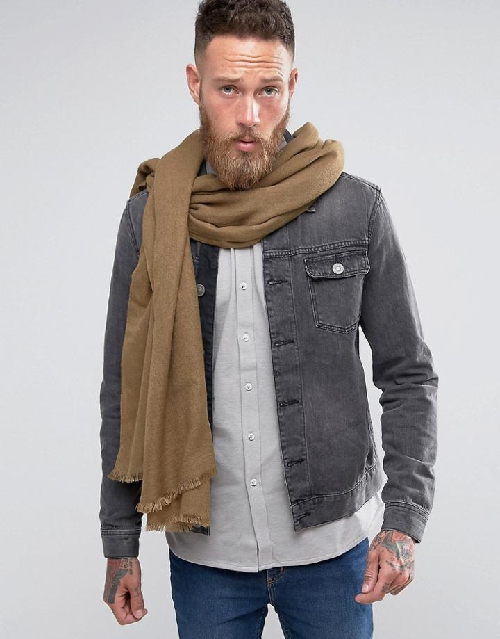 Asos Lightweight Woven Blanket Scarf In Khaki - Green