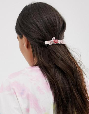Margherita Pink Rhinestone Love Hair Clip - Pink