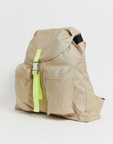 Asos Design Backpack In Beige With Contrast Neon Strap - Beige