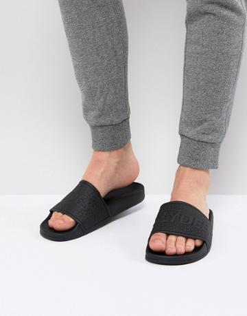 Slydes Cali Logo Slider Flip Flops In Black - Black