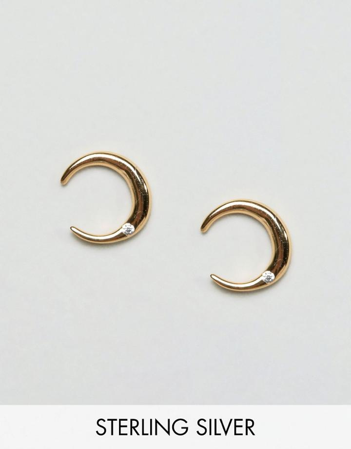 Asos Gold Plated Crescent Stud Earrings - Gold