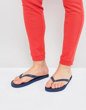 Fila Troy Flip Flop In Navy With Logo - Navy
