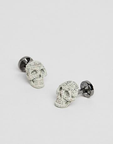 Twisted Tailor Skull Cuff Link In Gray - Gray