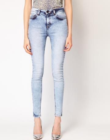 Just Female High Waist Acid Wash Skinny Jeans