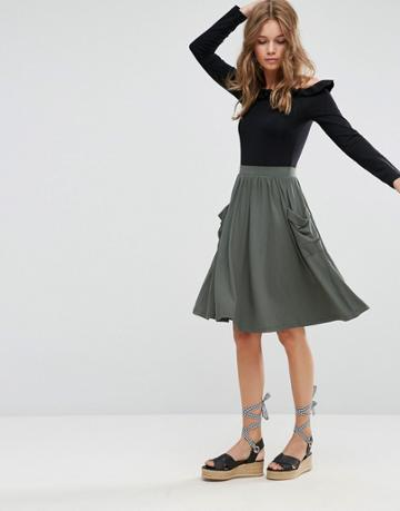 Asos Jersey Midi Skirt With Pockets - Green