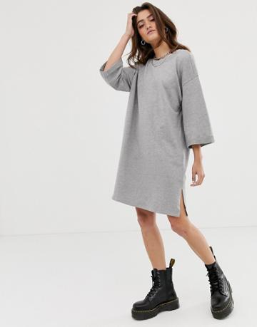 Noisy May 2/3 Sleeve Sweatshirt Dress In Gray - Gray