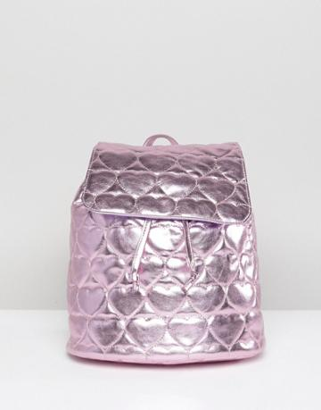 Lazy Oaf Pink Metallic Quilted Heart Backpack - Pink