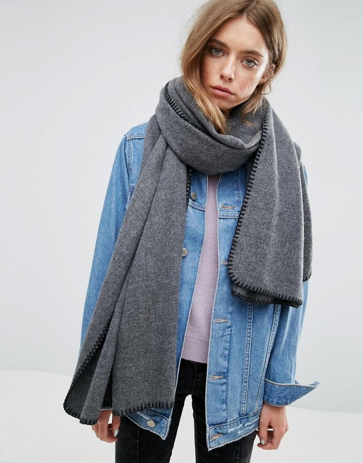 Asos Long Woven Blanket Stitch Scarf - Gray