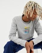 Tommy Jeans Signature Repeat Logo Long Sleeve Top In Gray Marl - Gray