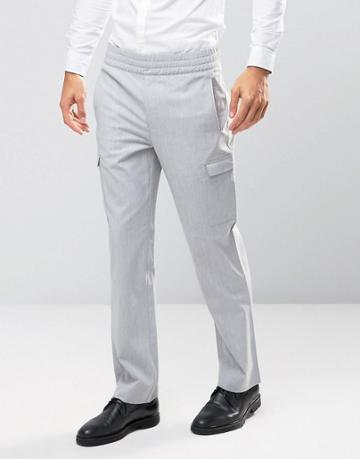 Asos Straight Smart Cargo Joggers In Pale Gray - Gray