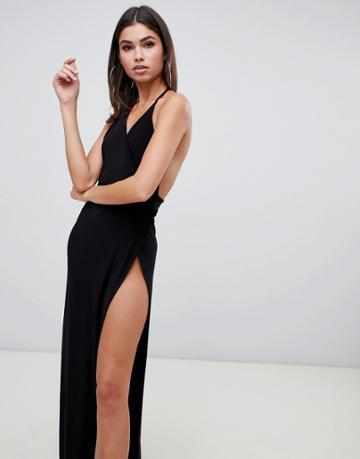 Club L Cami Maxi Dress With High Thigh Split In Black - Black