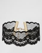 Asos Night Lace Choker Necklace - Black