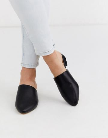 Truffle Collection Flat Pointed Mules In Black