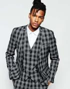 Noak Monochrome Check Suit Jacket In Super Skinny Fit - Black