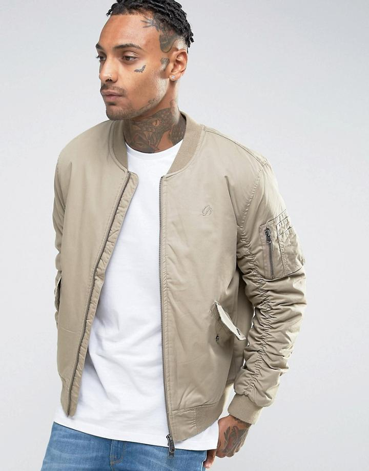 Criminal Damage Canvas Ma1 Bomber Jacket - Stone