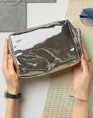 New Look Metallic Perforated Makeup Bag - Gold