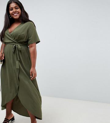 New Look Curve Wrap Dress - Green