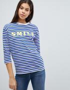 Asos T-shirt With Smile In Stripe - Multi