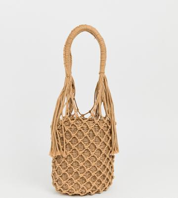 My Accessories London Exclusive Woven Straw Shoulder Bag - Beige