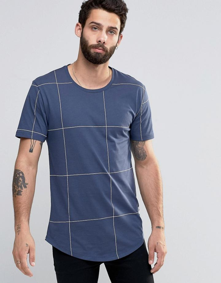 Only & Sons Check T-shirt - Navy