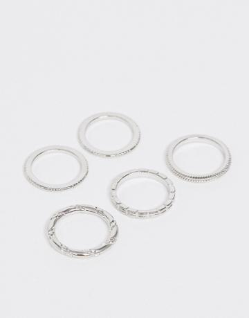 Asos Design Pack Of 5 Rings In Engraved And Twist Designs In Silver Tone - Silver