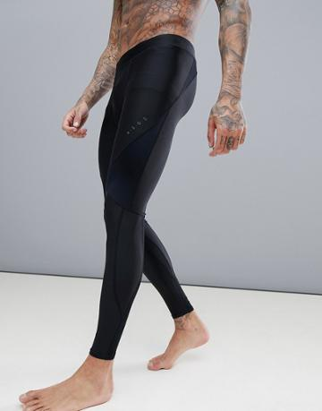 Asos 4505 Compression Running Tights With Cut & Sew In Black - Black