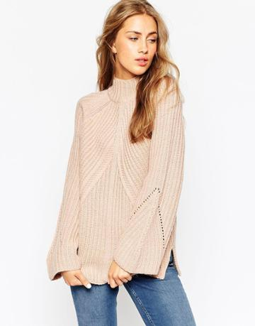 Asos Chunky Sweater With High Neck And Moving Rib - Nude
