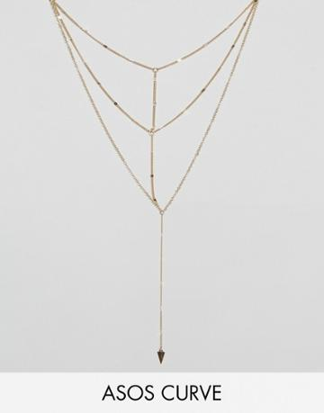 Asos Curve Asos Multirow Triangle Chain Necklace - Gold