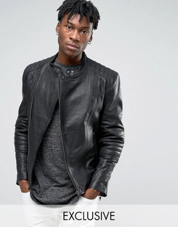 Black Dust Leather Moto Jacket - Black