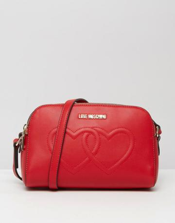 Love Moschino Double Heart Shoulder Bag - Red