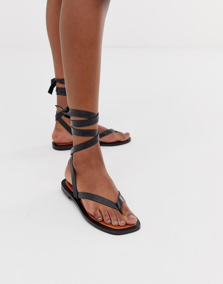Asos Design Fluxe Premium Leather Flip Flops-black