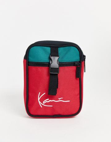 Karl Kani Signature Block Messenger Bag In Red/green