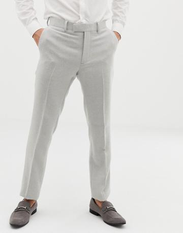 Asos Design Wedding Skinny Suit Pants In Ice Gray Wool Mix Texture - Gray