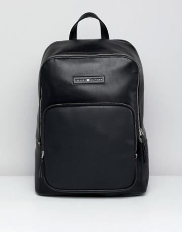 Tommy Hilfiger Corporate Mix Faux Leather Backpack In Black - Black