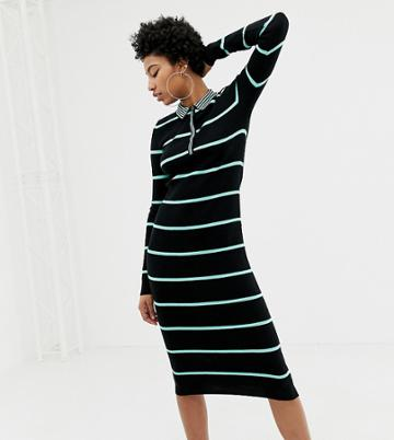 Collusion Tall Ribbed Midi Dress In Stripe - Multi