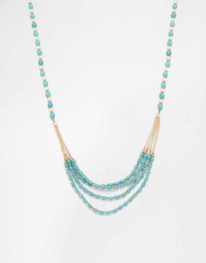 Design B Multi Row Bead Necklace - Gold